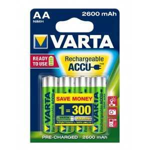 BLISTER X 4 ACCUS VARTA AA HR6 2600 MAH