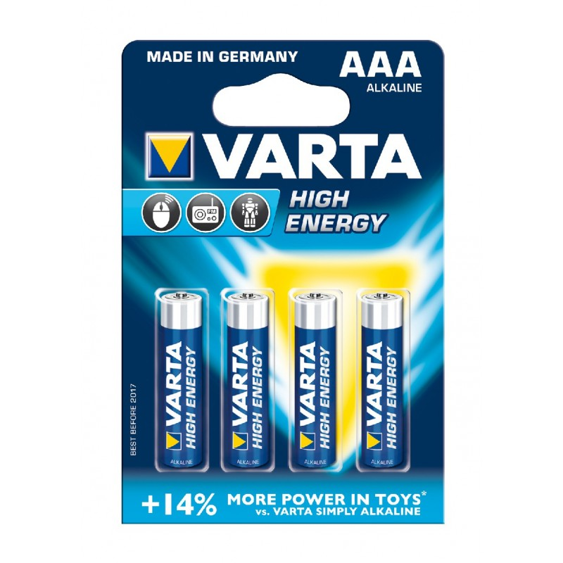 BLISTER X 4 PILES VARTA HIGH ENERGY AAA / LR03