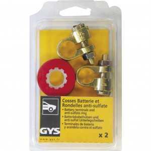 2 Cosses batterie simple serrage VL + 2 Rondelles anti-sulfate - Pour câble 10mm-35mm² - Blister